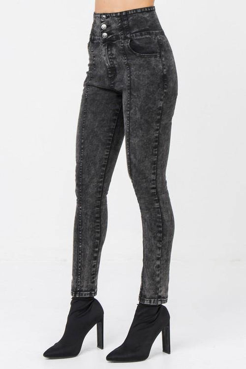 Avril Black Acid Washed Tapered Leg Jeans - THE WEARHOUSE