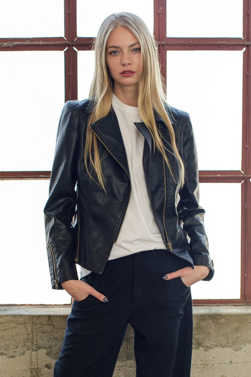 Black Zipper Detail Faux Leather Jacket