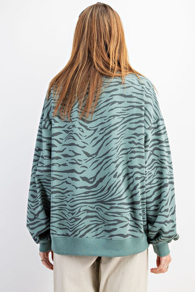 Teal Long Sleeve Zebra Terry Pullover Top