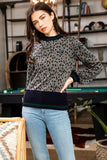 Grey Cheetah Print Long Sleeve Top