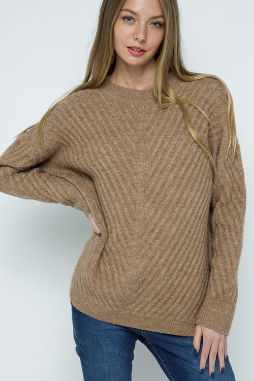 Mocha Herringbone Wide Rib Pullover Sweater