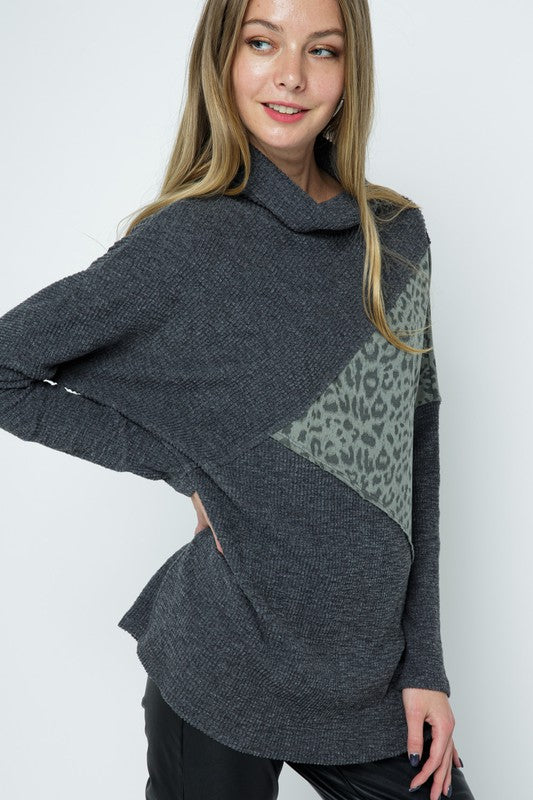 Grey and Green Leopard Contrast Sweater