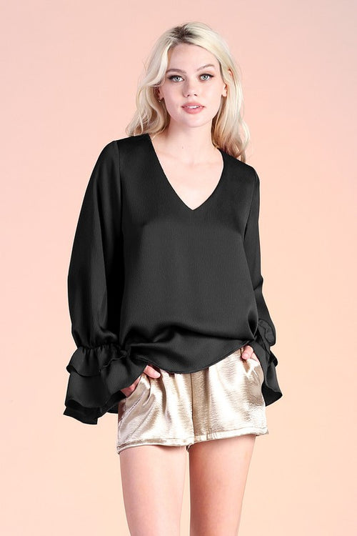 Black Satin Top with Ruffle Cuff Detail