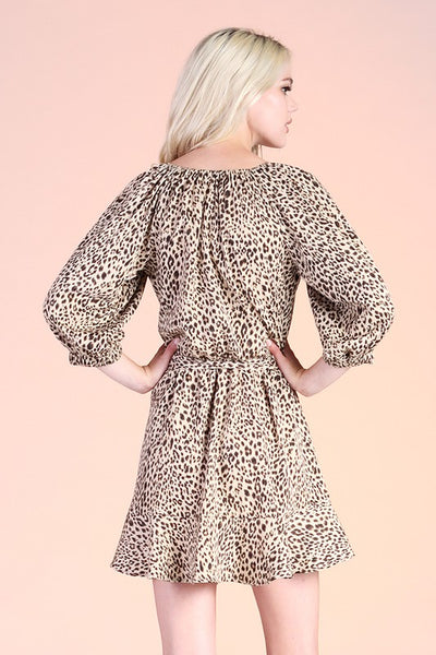 Taupe Wild Cheetah Twill V-Neck Dress