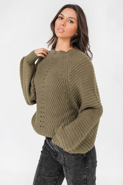 Olive Round Neckline with Blouson Sleeves