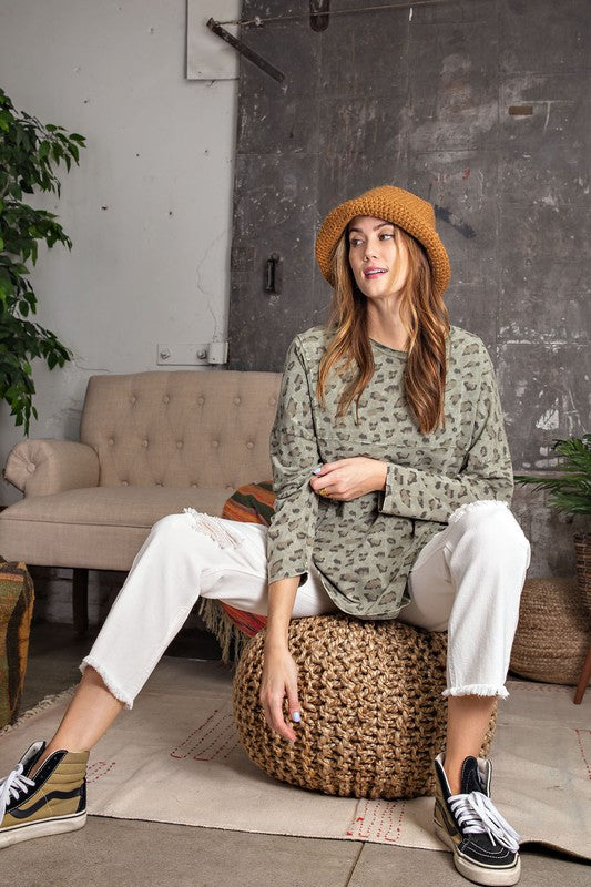 Faded Olive and Leopard Print Oversize Top