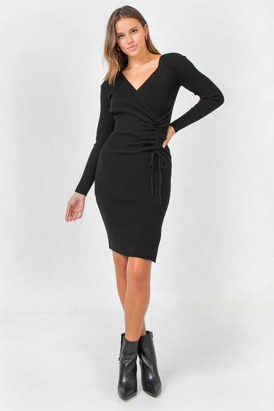 Best in Black Ribbed Sweater Dress - THE WEARHOUSE
