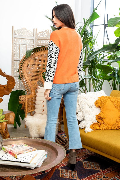 Orange and Leopard Sleeve Sweater