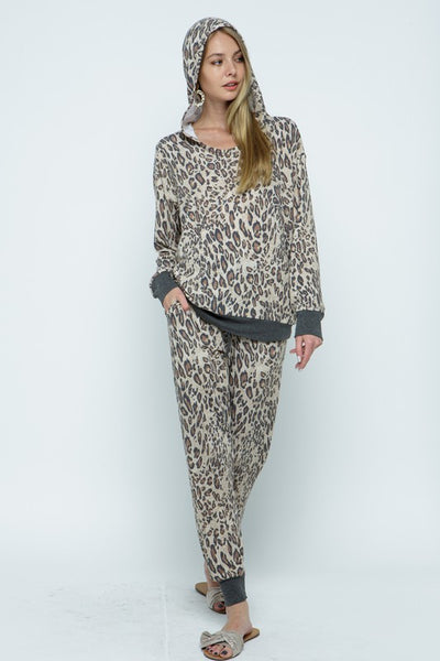 Brown Leopard Print Hoodie and Jogger Pants Set