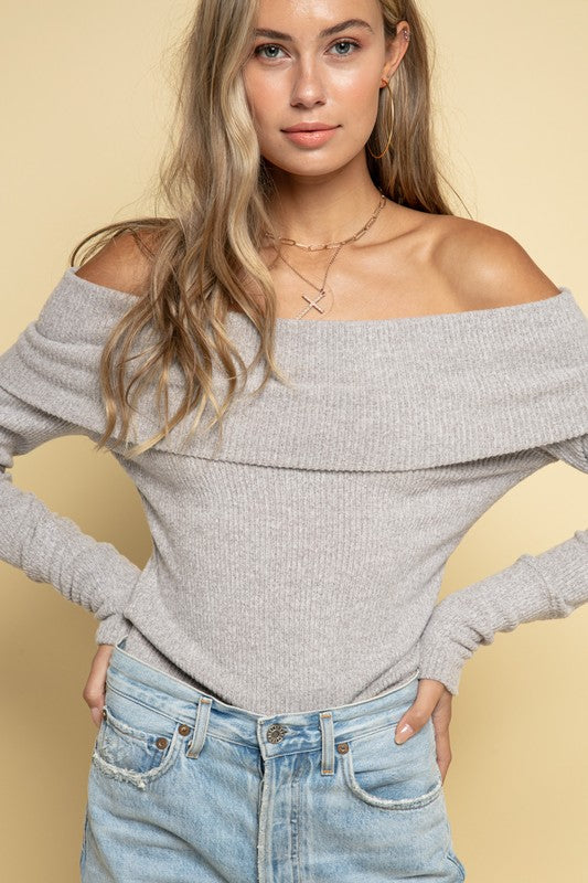 Heather Grey Cashmere Ribbed Off Shoulder Sweater