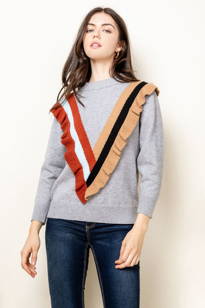 Red and Khaki Varisty Sweater