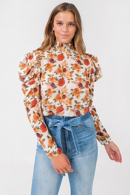 Fall Floral Print High Neck Top