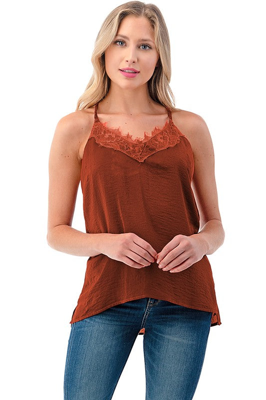 Rust Colored V Neck Cami Top