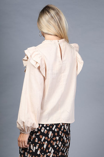 Tan Mock Neck Blouse
