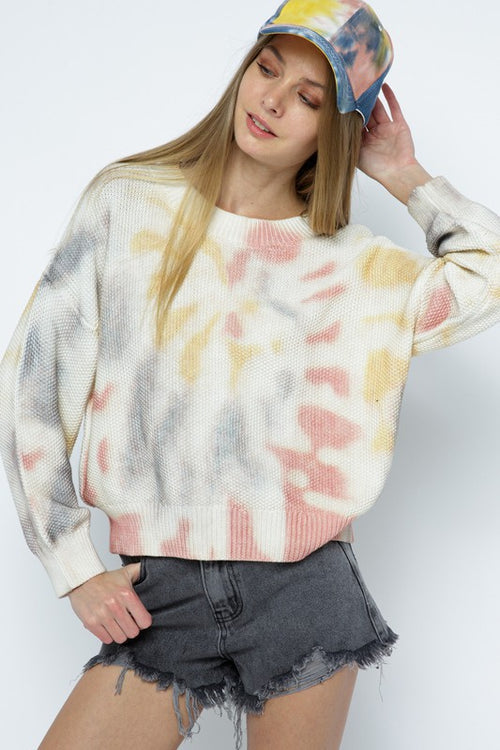 Multi Colored Tie-Dye Pullover Sweater