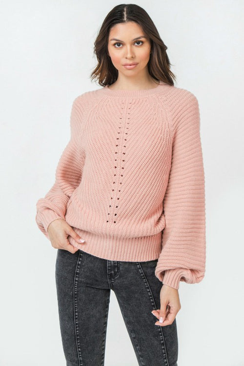 Dusty Pink Round Neckline with Blouson Sleeves Sweater