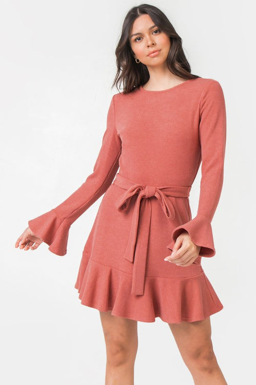 Dark Coral Solid Ribbed Knit Dress