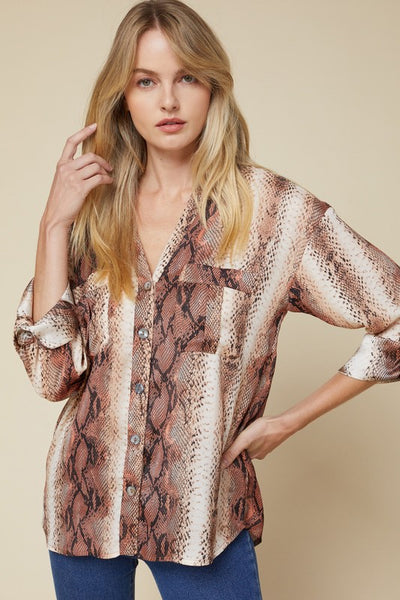 Brown Snake Print Button-Up Top