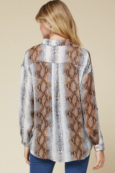 Grey Snake Print Button-Up Top