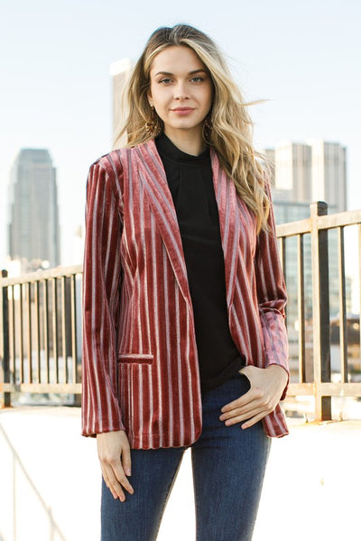 Wine Colored Metalic Velvet Stripe Blazer