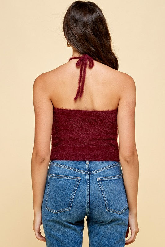 Fuzzy Wine Colored Knitted Halter Tank Top