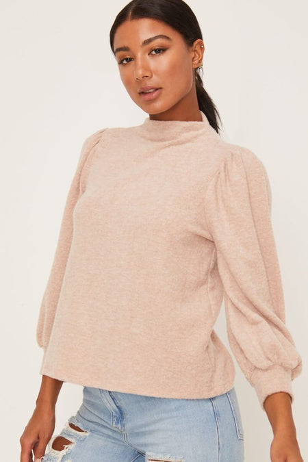 Heather Grey Hacci V Neck Top