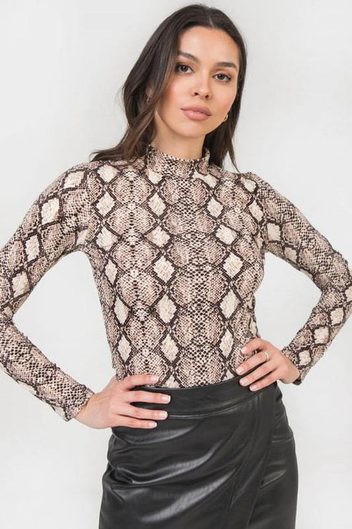 Beige and Black Animal Print Mock Neck Top