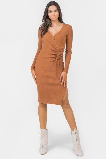 Brown V-Neck Snakeskin Dress