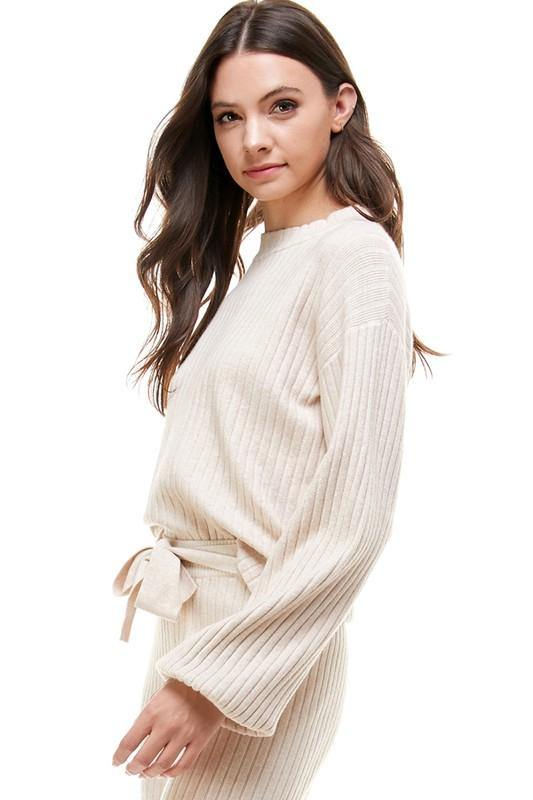 Beige Colored Ribbed Light Weight Sweater