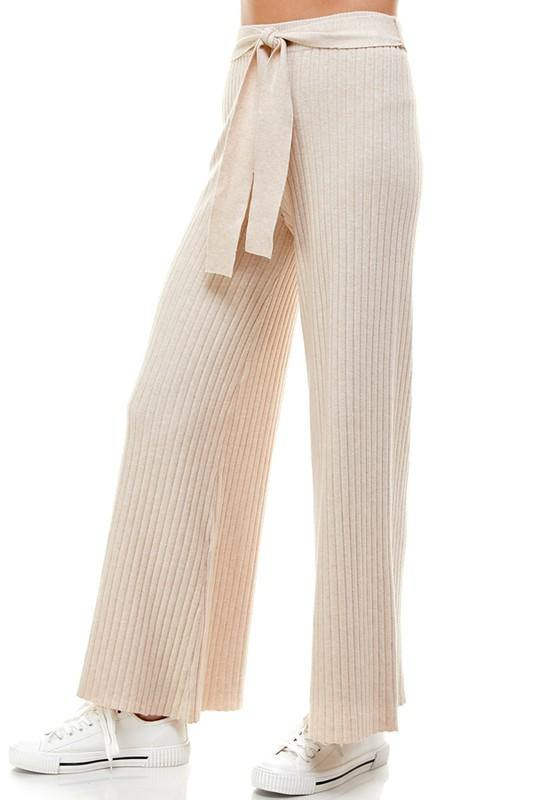Beige Ribbed Tie Waist Sweater Pants - THE WEARHOUSE