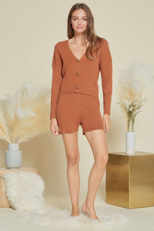 Rust Colored Bethel Sweater Two Piece Set