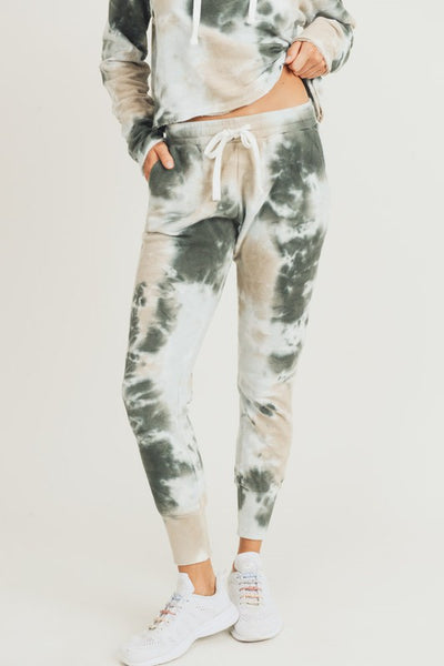 Green and Taupe Tie-Dye Jacquard Joggers