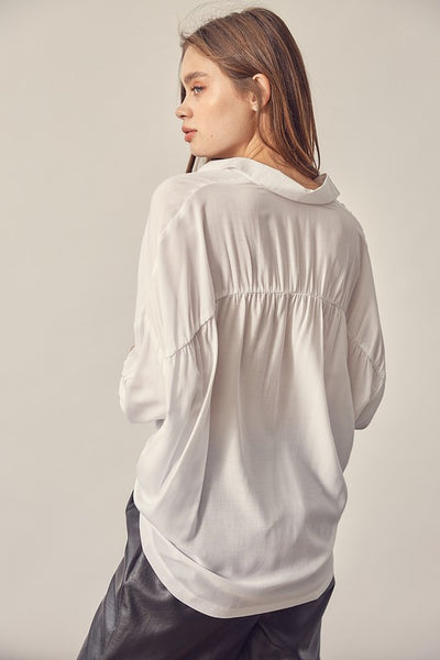 Off White Oversized Button Up Top