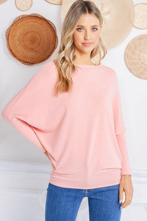 Athena Pink Dolman Sleeve Sweater - THE WEARHOUSE