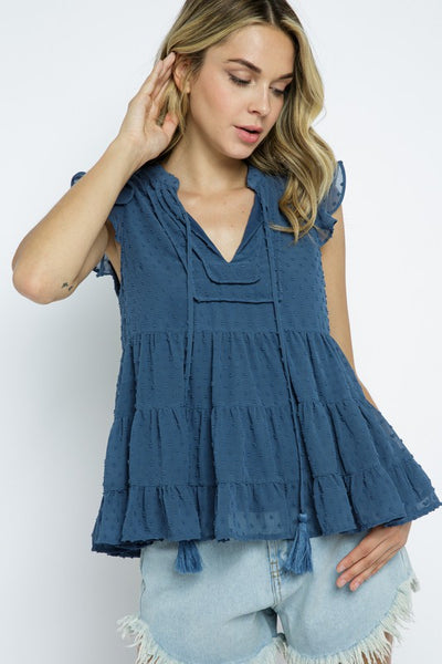 Dusty Blue Sleeveless Ruffle and Tassel Top