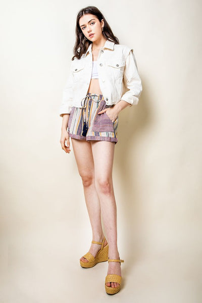 Cream Stripe Tassel Tie Shorts