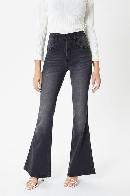 Cher High Waist White Flare Denim