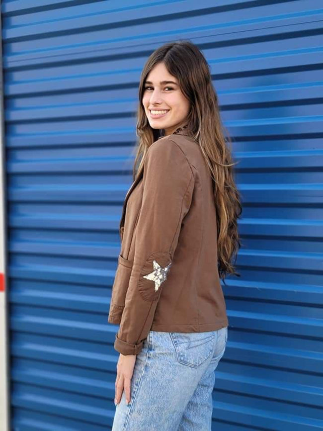 Camel Colored Sequin Star Blazer