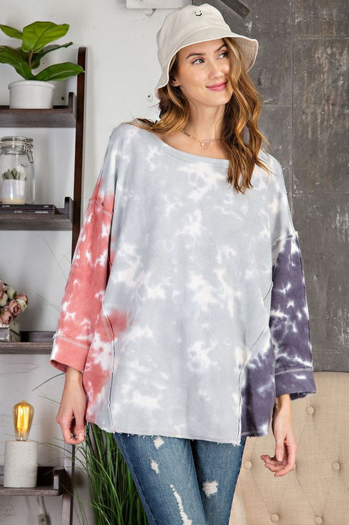 Blue and Grey Tie-Dye Terry Loose Fit Top