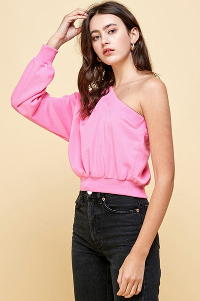 Pink One Shoulder Top