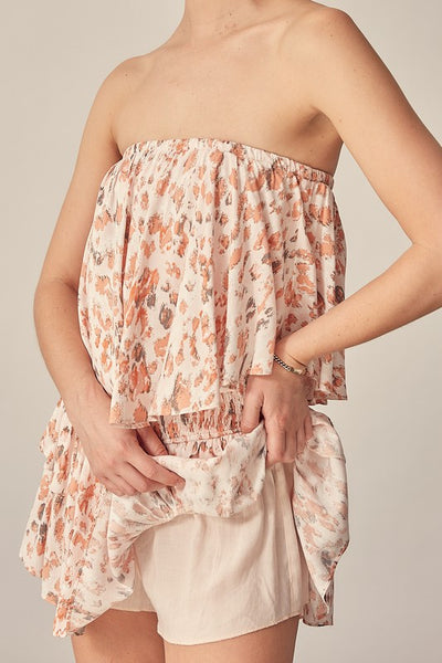 Mauve and Coral Ruffle Romper with Shorts