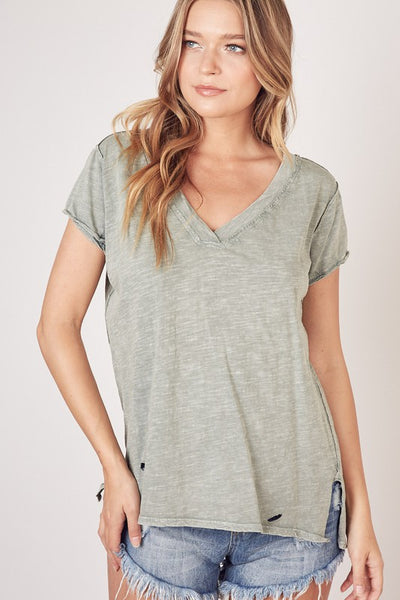 Olive Colored Weathered V-Neck Top