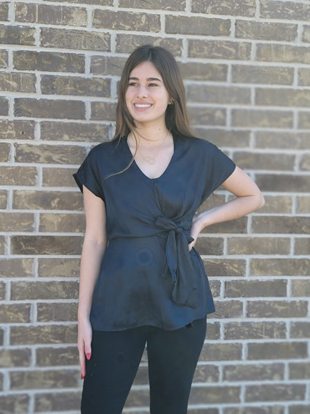 Black Silky Tie Front Blouse