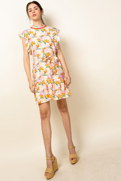 Pink Floral Flutter Sleeve Print Dress