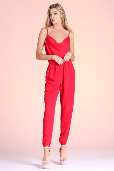 Red Satin Cowl Neck Cami Jumpsuit