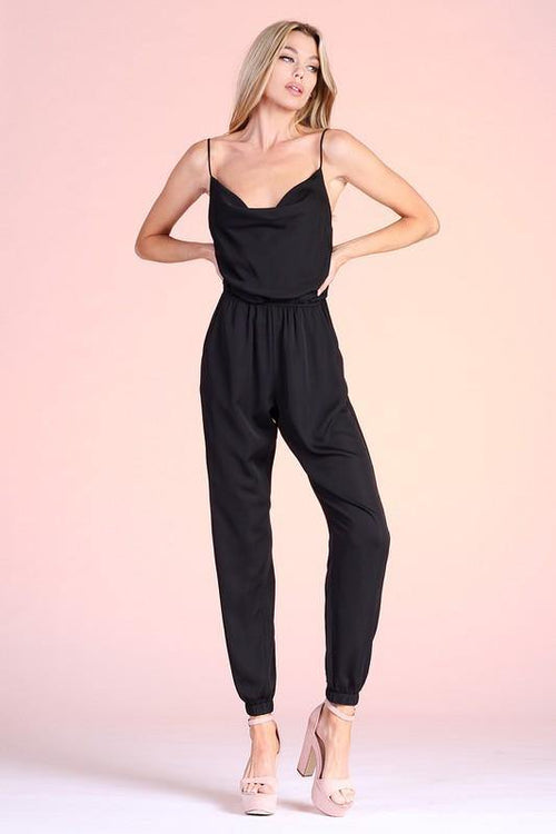 Black Cowl Neck Cami Jumpsuit - THE WEARHOUSE