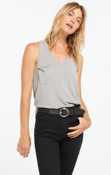 Dusty Sage Pocket Racer Tank