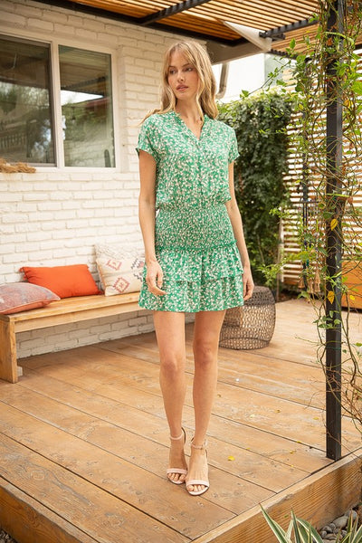 Green Bella Floral Print Tiered Dress