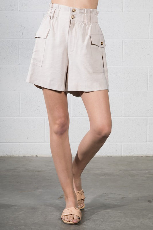Tan Colored High Adjustable Waist Shorts