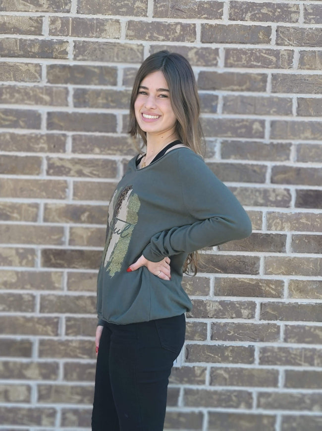 Army Green V-Neck Sweater